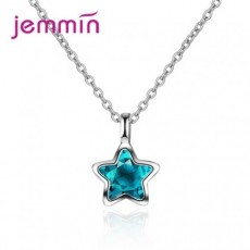 JEMMIN Charming Exquisite 925 Sterling Silver CZ Star Pendant Necklace High Quality Austrian Crystal Big Promo